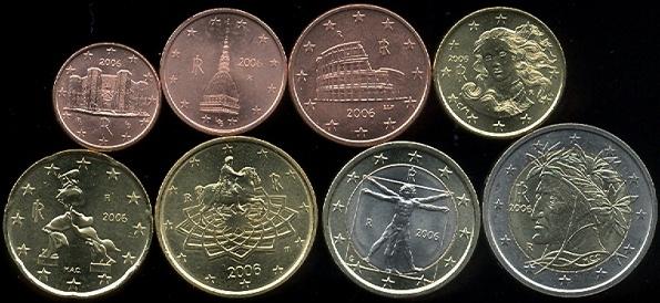 Sada mincí 1 cent - 2 euro Taliansko 2006