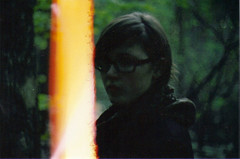 burning like a bridge for your body (SHIYA) Tags: portrait green film girl woods lightleak dirtyscanner