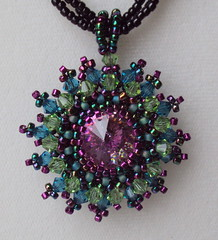 Mardi Gras Necklace (fivefootfury) Tags: necklace jewelry mardigras beaded pendant fattuesday beadwork adjustable purpleandgreen purpleandgold purplegreengold ebwteam etsydarkteam pinkrivoli