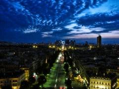 Looking Down Paris' Dfense (Samantha Decker) Tags: sky paris france architecture night photoshop canon geotagged europe ps powershot business adobe pointandshoot fr arcdetriomphe postprocess defence grandearche cs4 geo:lon=229488 topazadjust sx10is samanthadecker geo:lat=48873855