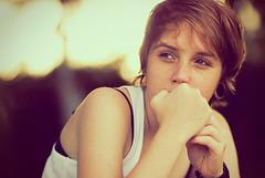 Ju (Paulo Noronha) Tags: light portrait sun girl female backlight natural bokeh thinking pensive