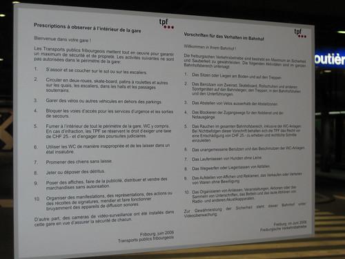 Vorschriften tpf, Busbahnhof Fribourg