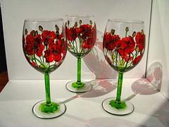 "Wine glasses ""Poppies"" (Telemakh) Tags: vitrail poppy wineglass      glasspanting"