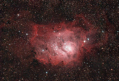 Messier 8 -- The Lagoon Nebula (Reprocessed) (zAmb0ni) Tags: sky night stars long exposure 8 lagoon telescope galaxy nebula astrophotography m8 astronomy messier celestron