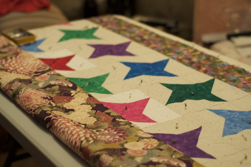 Pinning the quilt