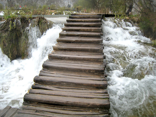 Stairs down the waterfall