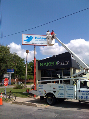 Naked Pizza Twitter billboard