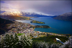 Queenstown & the Remarkables (katepedley) Tags: new city trees winter light newzealand lake snow mountains nature canon interestingness afternoon tripod explore zealand pines southisland queenstown 5d gondola bungy remarkables wakatipu 1740mm wonders polariser gndfilter wondersofnature otagonz kelvinheights deerheights