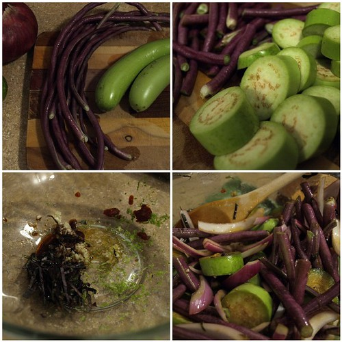Prepping eggplant and beans with asian marinade