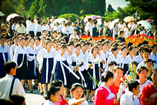 north korean girls. North Korean college girls