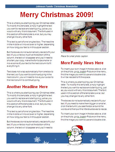 christmas newsletter template - blue snowman