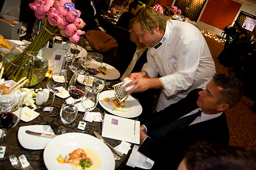 Chef David Kinch providing a foie gras garnish at the Four Seasons Bangkok World Gourmet Festival's Gala Dinner
