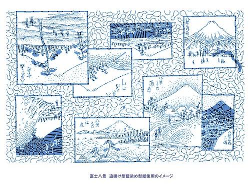 富士八景 藍染め型紙使用のイメージ(追掛け型)