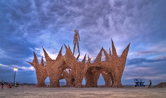 Burning Man at Sunset in HDR