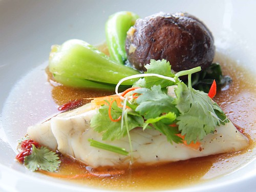 Steamed Seabass with Superior Chinese Herbs, Asian Vegetables and Shitake Mushrooms