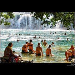 Krk National Park, Croatia - Waterfall  Pool (Osvaldo_Zoom) Tags: girls summer people sun lake tourism water colors pool swim nationalpark bath kiss croatia waterfalls croazia sibenik krk sibenska