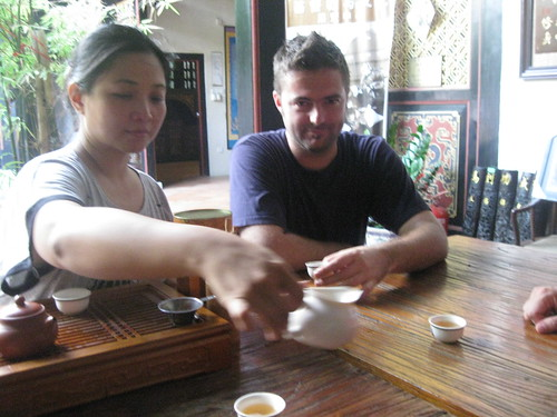 Pak and Jeremy, tea ceremony at Pak's wonderful tea house!