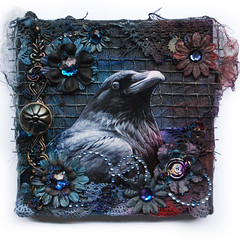Kruk - canvas - The Raven (finnabair) Tags: door flowers blue black birds collage metal night altered dark scrapbooking layout 3d paint purple handmade mixedmedia grunge gothic canvas romantic imagination swirl swirls crow prima knob raven gears glimmer gems bohemian burton gauze inks steampunk alcoholinks