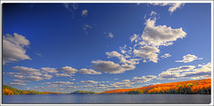 Panoramic Fall Colors (YYZDez) Tags: park autumn trees lake ontario canada fall leaves clouds landscape island fallcolors pano panoramic 5d canon5d soe haliburton haliburtonhighlands centrelake canonef1740f4llens