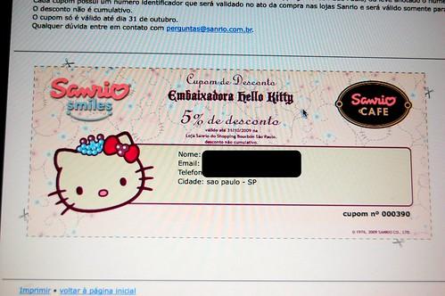 Cupom de desconto Hello Kitty Cafe