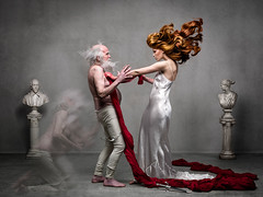 Macbeth - NZ Opera (Alexia Sinclair) Tags: red newzealand statue hair concrete contemporary oldman redhead explore auckland redhair macbeth ladymacbeth muslin strobist kingduncan nzopera