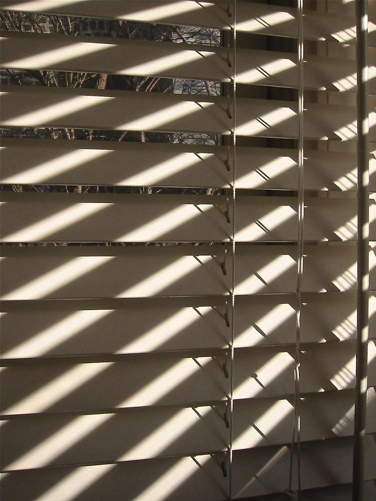 Shadows on Wood Window Blinds