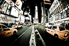 Times Square, NYC (shaymurphy) Tags: new york city nyc newyorkcity ny yellow night america square lights amrica cab taxi fisheye times amerika stad      lamerica lamrique nikkor105  nikond300