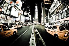 Times Square, NYC (shaymurphy) Tags: new york city nyc newyorkcity ny yellow night america square lights américa cab taxi fisheye times amerika stad アメリカ 美国 미국 纽约 америка lamerica lamérique nikkor105 πόλη nikond300 τησ ニューヨークシティ αμερική 뉴욕시 νέασ υόρκησ