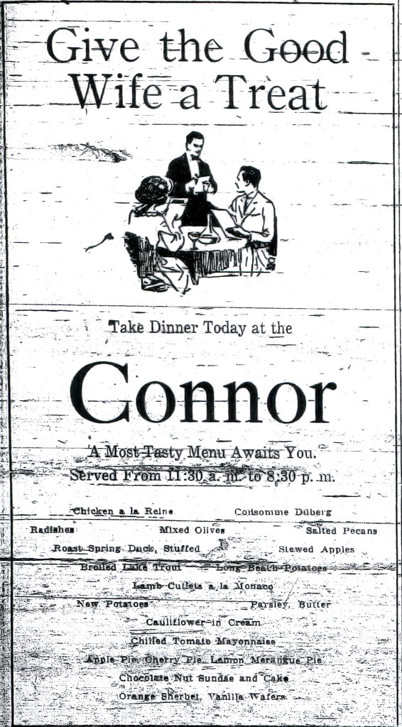 An ad for the restaurant at the Connor Hotel