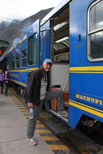 Roger boarding the train