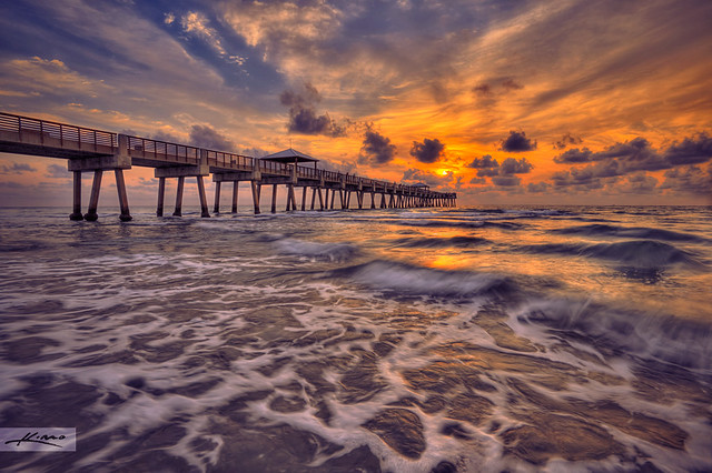 Juno Beach Pier Sunrise Over Ocean