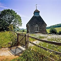 Upwaltham, West Sussex (louisberk.com) Tags: blue summer england sky green church century daisies sussex countryside high quiet kodak hasselblad serene 100 12th swc ektar upwaltham gupr