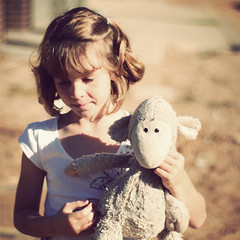 Holly and Sheepy (Kerrie McSnap) Tags: family portrait girl kids children square nikon mood child atmosphere holly sheepy d60 easter2009