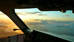 Evening arrival into Edinburgh (Frans Zwart) Tags: sunset water clouds landscape flying airport edinburgh cockpit forth pilot flightdeck firth