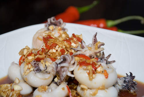 Poached Baby Cuttlefish with Red Chilli