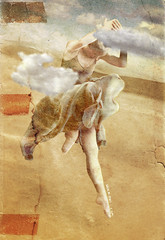 Water over Mars (vinciane.c) Tags: woman sun art clouds dance desert dancing dunes femme digitalpainting illusion younggirl wacomcintiq