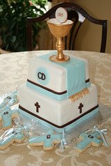 First Communion Cake (irresistibledesserts) Tags: blue boy brown baptism chalice firstcommunion