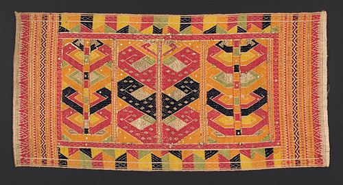 //Tatibin//, Paminggir people. Lampung region of Sumatra circa 1900, 81 x 40 cm. Ship motif. From the library of Darwin Sjamsudin, Jakarta. Photograph by D Dunlop.