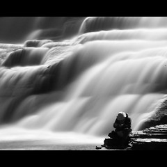 The fisherman by the falls - EXPLORED FP (flickrfanmk2007) Tags: longexposure blackandwhite bw ny blur water fly waterfall moving fishing fisherman nikon tripod falls explore filter flowing ithaca gorges fp frontpage density ithacafalls neutral d300 nd400 18200mm explored yourbestblackandwhite flickrfanmk2007 profmikeking faderfilters