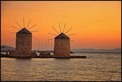 Evening colors (tolis*) Tags: sea summer orange canon island golden evening aegean windmills greece tamron chios 50d eos50d tolis    vosplusbellesphotos flioukas 18270vc