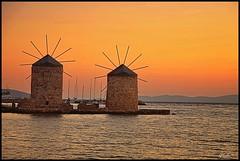 Evening colors (tolis*) Tags: sea summer orange canon island golden evening aegean windmills greece tamron chios 50d eos50d tolis    vosplusbellesphotos flioukas 18270vc