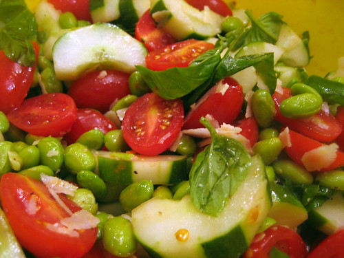 spicy tomato basil  cucumber edamame salad