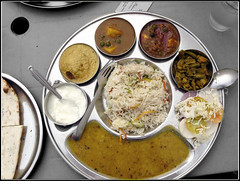Thali (GrandecapoEstiCazzi) Tags: food india vegetables asia rice plate dishes carry indianfood thali curd dhal chapati youghurt