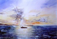 Art: Watercolour:...on honeymoon-trip, ... (that would be wonderful). (Nadia Minic) Tags: ocean sea mer seagulls interestingness meer honeymoon ship aquarelle watercolour luxembourg eveningsky schiff abendhimmel mven aquarell hochzeitsreise mouettes voyagedenoces croisre nadiaminic nadiaart
