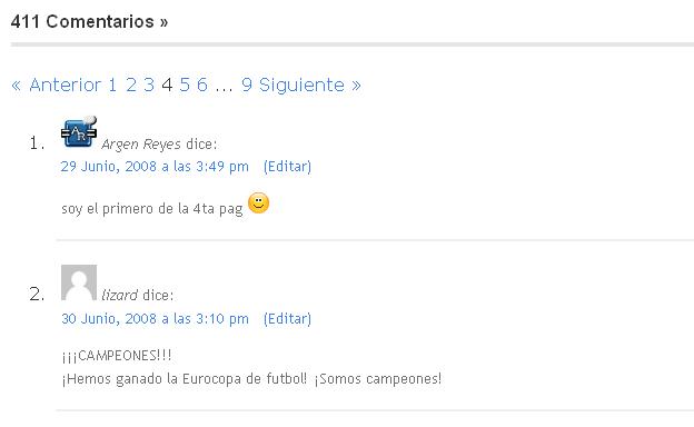 Wordpress 2.8 comentarios