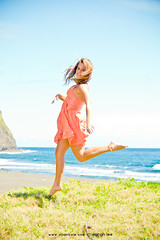 ashley (SARA LEE) Tags: ocean orange girl smile grass hair hawaii jump jumping model dress photoshoot bright ashley horizon wide sunny wideangle valley overexposed midair bigisland ashleys waipio spontaneous headroom honokaa sarahlee legothenego vivantvie