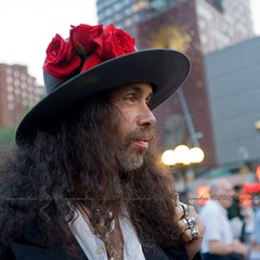 Jimmy Pearl (NYCandre) Tags: newyorkcity red portrait people man color hat fashion rose hats explore pirate jacksparrow newyorkmagazine 9736 100strangers explored07252009