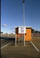 Carpark - Roselands, Sydney. (frontdrive34) Tags: iso200 shoppingcentre 135 carpark minoltasrt101 expiredfilm konicaminolta centuria roselands trolleybay