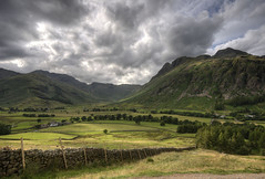 England: Cumbria - The Band and The Langdale Pikes (Tim Blessed) Tags: uk trees sky mountains nature clouds landscapes countryside scenery cumbria lakedistrictnationalpark singlerawtonemapped