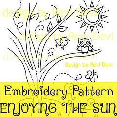 enjoying the sun (revi1001) Tags: tree bird nature modern birdie forest pattern hand stitch embroidery doodle kawaii owl etsy graden whimsical revidevi revi1001